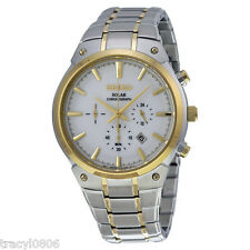 New Men's Seiko SSC318 Solar Chronograph Two Tone Stainless Steel Watch $350