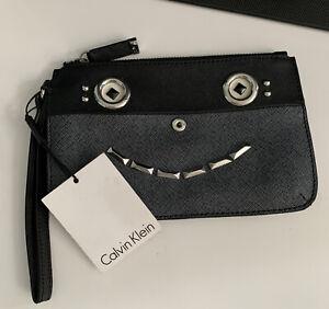 """CALVIN KLEIN BLACK/ GRAY WRISTLET / PURSE """"Funny Face"""" Wallet New"""