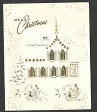 Vintage Christmas Card & Envelope UnUsed Horse & sleighs Huge House Woman inDoor