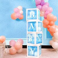 4Pcs Baby Shower Decor Gift Boxes Transparent Balloons Packing DIY Letter Cube