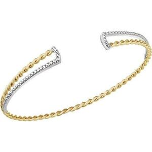 Twisted Rope Cuff Bracelet 14K Yellow and White Gold