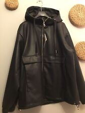 Zara Faux Leather Parka Coat With Hood Size L Genuine