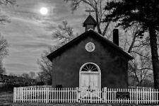 Black,White,Photo,Church,Rayado,New Mexico,nm,cross,trees,jesus,fence,moon,chris