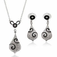 Crystal Rhinestone Plated Water Drop Pendant Necklace Earrings Jewelry Set Woman