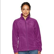 COLUMBIA JACKET COAT FLEECE BENTON SPRINGS FULL ZIP FRONT & POCKETS PLUM NEW XS