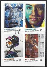 AUSTRALIA 2017 STREET ART SET OF 4 SELF ADHESIVE EX BOOKLET FINE USED