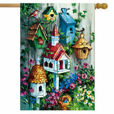 F84A BIRDHOUSE GARDEN FLOWERS BIRDS SUMMER SPRING LARGE HOUSE FLAG 28X40 BANNER