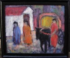 Torsten Anderstroem 17-99,Color intenso Escena con Coche de caballos y Personas,