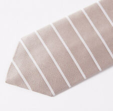 "New E.MARINELLA NAPOLI Beige-White Horizontal Stripe Classic 3.5"" Silk Tie"