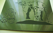 SW3 NEW 2in1 AIRBRUSH STENCILS STAR WARS R2-D2 Artoo - Detoo AT-AT walker Paint