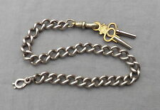 Old Vintage Antique Silver Curb Chain Watch Chain 2 Keys
