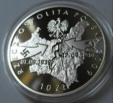 Silver coin 1939-nazi german airplane dropping bombs WIELUN (ussr, hitler