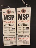 AirTran 2 Airline Baggage Destination Tags MSP Minneapolis St. Paul Minnesota