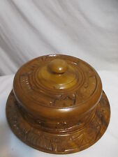 Vintage 60's/70's Hand Carved Covered Cake Stand Lazy Susan Party Mid Century
