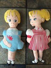 Vintage Dolls~1920's~Hand-Se wn~Blonde~Blue Eyes~Pair~Antique~Red & Blue Dresses