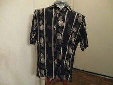 NATURAL ISSUE Mens M/M Button/Front Black HAWAIIAN Floral SHIRT