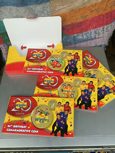 4 x 2011 $1 COINs the wiggles 20TH BIRTHDAY FOUR COIN SET ONE DOLLAR guitar RARE