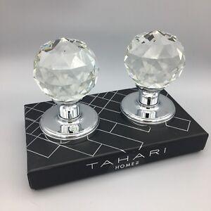 Tahari Crystal Door Knob Round Faceted Set Silver Chrome Designer Luxury NEW