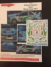 DECALS 1/43 SUBARU IMPREZA WRX PIERRE TANCI RALLYE MONTE CARLO 2011 RALLY WRC