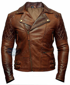 Mens Biker Motorcycle Vintage Distressed Brown Winter Leather Jacket Cafe Racer