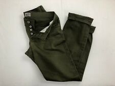 NAKED FAMOUS Weird guy Green Selvedge Chino Denim Jeans 30x30 Distressed Wash