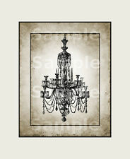 "Wall Art print 8"" x 10"" (Unframed) 325gsm card Vintage image French Chandelier"