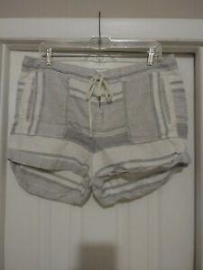 Lou & Grey Women's Grey/White/Black Linen Blend Four Pocket Zip-Up Short Size L