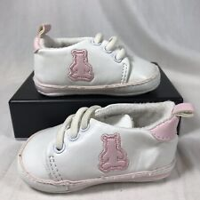 Baby Gap Girls Crib Shoe Size 6-12 Months White Sneaker Booties Pink Bear Infant