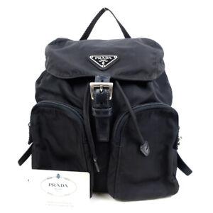 PRADA Backpack Triangle Logo Nylon Black