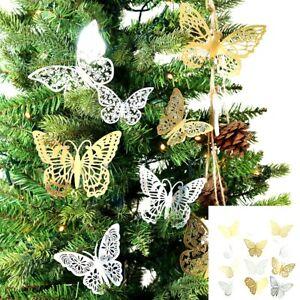 12pcs 3D Butterfly Christmas Tree Decorations Sticker Art Decals Home Decor