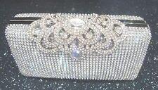 Bling Silver Diamante Diamond Crystal Evening bag Clutch Purse Party Bride Prom