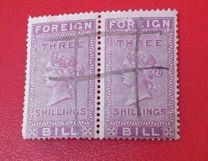 GB Great Britain FOREIGN BILL Three shillings x2 Freepost