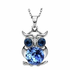 Sparkly Austria Crystal Rhinestones Blue Owl Chain Necklace Pendant Jewellery