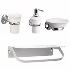 Chrome Round Bathroom Accessories Wall Mounted Soap Dish Dispenser Tumbler Shelf