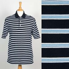 MENS TOMMY HILFIGER GOLF POLO T-SHIRT SHIRT BLUE STRIPED CASUAL PREPPY M