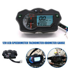 1×DC12V Universal Motorcycle LCD Digital Speedometer Tachometer Odometer Gauge