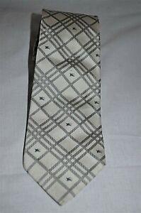 Burberry -London Smart Designer Classic Fawn Tartan Check Woven 100% Silk Tie