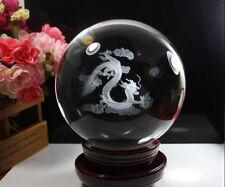 100mm Quartz Clear Magic Crystal Healing Ball Sphere dragon painted ornament