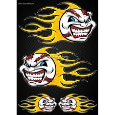 Stickers Motorcycle helmet tank Flames Baseball Format A4 2501