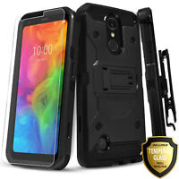 For LG Risio 3 Case, Kicksatnd Belt Clip Cover  + Tempered Glass Protector