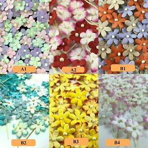 Flowers Mulberry paper Mini Petals Stem Blossom Thread Embellishment Card Crafts