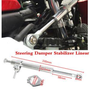 Silver 330mm CNC Aluminum Front Fork Steering Damper Stabilizer Linear Reversed
