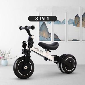 3 in 1 Kids Tricycle Toddler Balance Bike Ride on Toys Toddler Push Trike