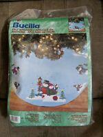 "Bucilla SNOW FAMILY Felt 2001Applique Tree Skirt Kit 43"" Round Lt.Blue #84404NOS"