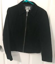 CLIO Womens Black Suede Zip Up Jacket-Size 8-Fully lined-EUC