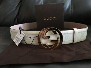 White Monogram Gucci Belt 100CM (34-36)