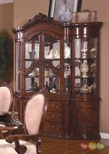 Ornate Traditional China Cabinet With Antique Brown Finish