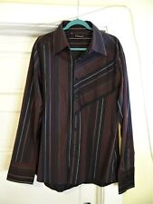 Men's 7 Diamonds Long Sleeve Pin Striped Button Front Shirt Size XXL 2XL $69