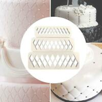 3x Diamond Fondant Cookie Cutter Cake Biscuit Mold Fondant Decor Baking Tools
