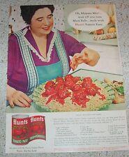 1961 advertising - Hunt's tomato -Mama Mia- Italian Meat Balls recipe Print AD